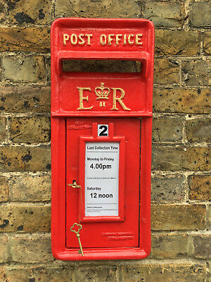 Red Royal Mail ERII Post Box Front cast iron