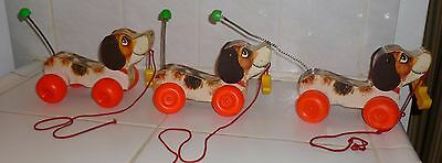 1965 FISHER PRICE #2034 #693 LITTLE SNOOPY Beagle Wood Pull Toy w/ Shoe CHOOSE 1