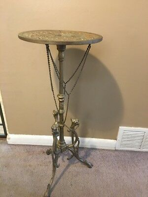 Antique Cast Iron Victorian GARGOYLES CHERUB TOP/CHAINS FERN PLANT STAND 30""