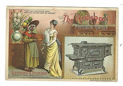 Trade Card Redwood Portable Range Spicers Peckham Providence RI Black Americana