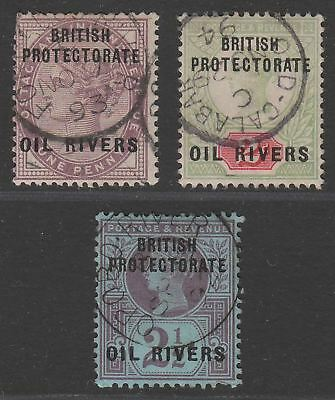 Oil Rivers Protectorate 1892 QV Overprint Part Set to 2½d Used SG2-4 cat £22