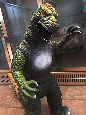 """1997 Dormei Godzilla Moveable Head Arms Legs & Tail Action Figure 15"""" Yellow"""