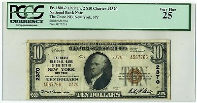 FR.1801-2 1929 Ty. 2 $10 Charter #2370 New York, NY National Bank Note VF25 PCGS