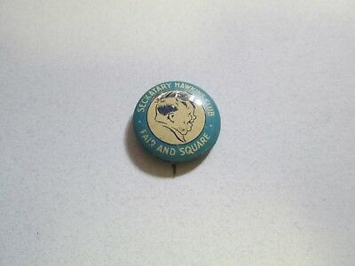 Vintage Seckatary Hawkins Club Fair and Square Pinback Button Pin