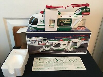 2001 Hess Helicopter w/Motorcycle and Cruiser NEW