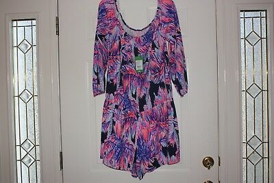 2007766c9a82 LILLY PULITZER BRIGHT Navy Palms Up Off The Shoulder Lana Romper XL NWT