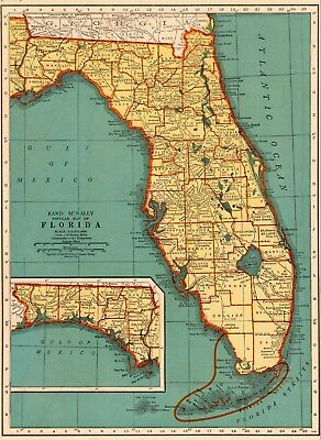 Vintage Florida Map.Vintage Florida Map State Souvenir Hankie Scalloped Edges With