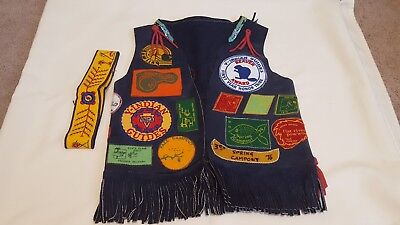 Vintage YMCA Indian Guides Leather Vest Full of Patches Plus Headband