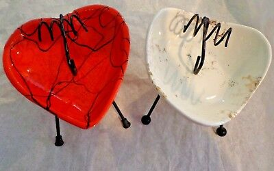 Mid Century Ashtrays On Wire Stands Calif. Pottery (2)