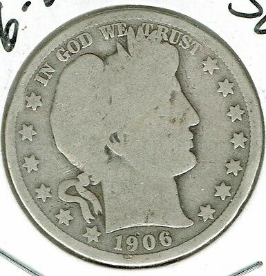1906-D Silver Business strike Circulated Barber Half Dollar Coin!