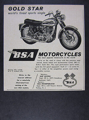 1960 BSA Gold Star 500cc Motorcycle vintage print Ad