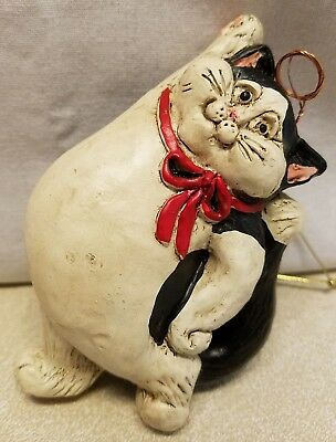 "2004 Stone Bunny Cat Angel Christmas Ornament Telle M Stein Black White 4.5""Tall"