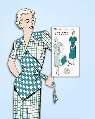 1940s Vintage New York Sewing Pattern 771 Uncut Misses Dress Button On Apron 32B