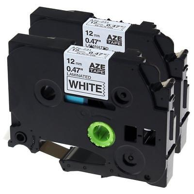 Compatible for Brother TZE-231 Black on White 12mm Label Tape Cartridge 8m 2PK