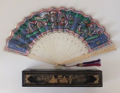 Vintage Handpainted Asian Folding Fan in Wooden Handpainted Laquered Box
