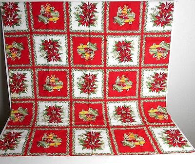 """Vintage (?) Red CHRISTMAS TABLECLOTH Bells Poinsettia Holly Small 37"""" Square"""