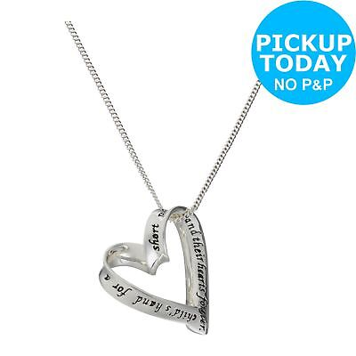 Sterling Silver Heart Mum Message 20mm Pendant 18 Inch