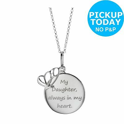 From the Heart Sterling Silver Daughter 15mm Pendant 18 Inch Necklace