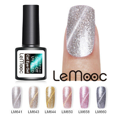 LEMOOC Sequin Glitter Platinum Soak Off UV Gel Cat Eye Gel Nail Art Polish 8ml
