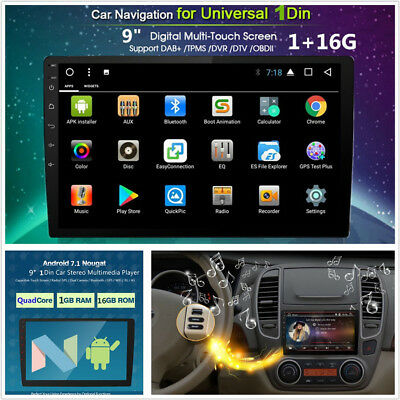"""9"""" HD Touch Screen Android 7.1 Single Din Car Stereo Radio GPS Wifi 3G 4G 1G+16G"""