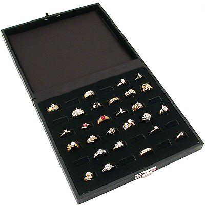 36 Slot Ring Tray Display Black Travel Jewelry Showcase