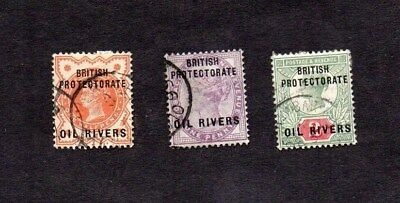 1892-4.QV.3xDIFF'T OVERPRINTED 'BRITISH PROTECTORATE OIL RIVERS' STAMPS.V.G.U.