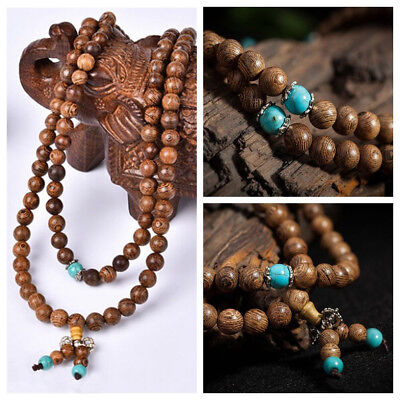 Unisex Sandalwood Buddhist Buddha Meditation Prayer Bead Mala Bracelet Necklace