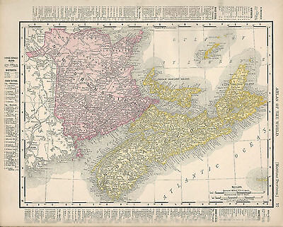 Authentic 1899 Colored Map Print 077 - Maritime Provinces And Manitoba, Canada