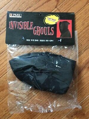 NEW (1) Halloween FRIGHT Mask with HOOD Invisible GHOULS Black