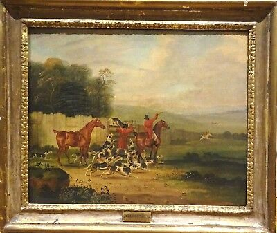 Large 18th Century English Hound Fox Hunting Scene Dean WOLSTENHOLME (1757-1837)