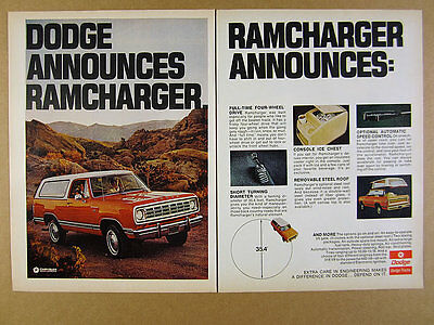 1974 Dodge RAMCHARGER orange suv truck color photos 2 page vintage print Ad
