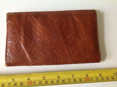 OLD RETRO 50s VINTAGE BROWN REAL LEATHER CARD CASE MONEY Bifold WALLET ZIP PURSE