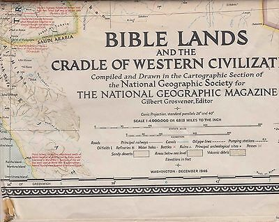 NATIONAL GEOGRAPHIC MAP ~ BIBLE LANDS & CRADLE of WESTERN CIVILIZATION ~Dec 1946