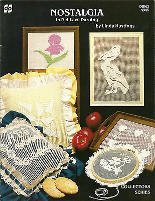 Nostalgia in Net Lace Darning Patterns Linda Hastings Monogram Pillows +