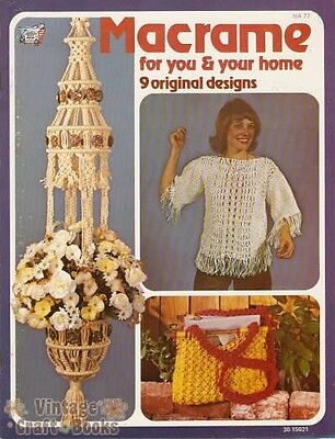 Macrame for You and Your Home Vintage Pattern Book Hangers Bags Blouse Purses