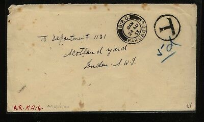 Barbados  no stamps on cover to  England  , postage due   1953       AT0516