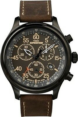 """Timex T49905, Men's """"Expedition"""" Leather Indiglo Watch, Chronograph, Date"""