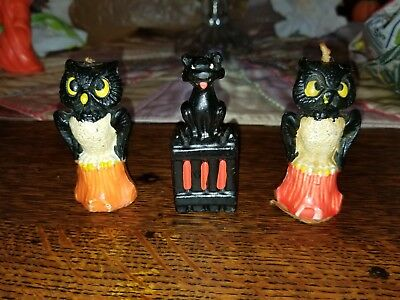 "3 Vintage Gurley Halloween Candles Black Cat & 2 Owls on Stumps 3"" tall; VGC"
