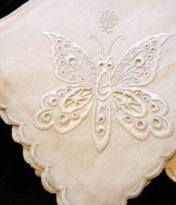 EXQUISITE 12 Antique Hand Embroidered BUTTERFLY Linen Napkins *MOVIE STAR ESTATE