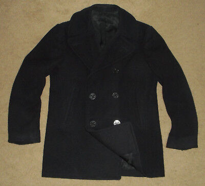 Vtg US ARMY Issued WOOL PEACOAT Kersey USA NAVY Over Coat Jacket Mens Sz 38 R