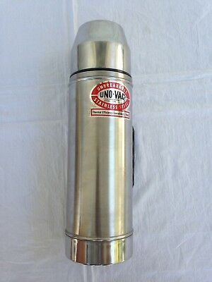 Vtg Uno Vac Thermos Stainless Steel Unbreakable 32 Oz