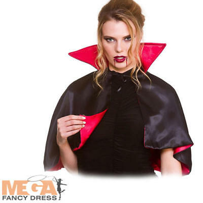 Mini Vampire Cape Ladies Fancy Dress Gothic Halloween Adults Costume Accessory