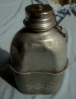 British Army 44 Pattern aluminium water bottle & cup 1952 , Korea , well used