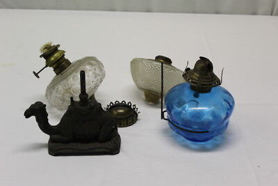 4 pc Lot of  Antique Assorted Lamp Fonts Metal and Glass Bases