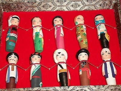 Set of 10 Oriental Chinese Handpainted Byclay Figures in Box Zhejiang Province