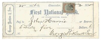 1875 FIRST NATIONAL BANK of GLOUCESTER, MA $25-FREE USA SHIP-GEORGE PERKINS