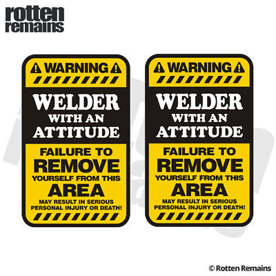 Welder Yellow Warning Decal Sticker SET MIG ARC TIG Welding Helmet Gloss HGV