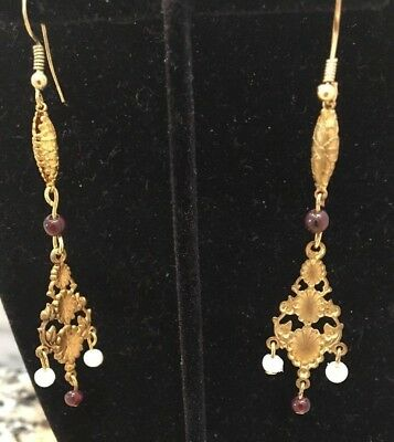 VINTAGE ANTIQUE  Brass and Genuine Garnet and pearl DANGLING EARRINGS