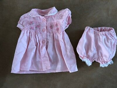 "Zapf creations baby born pink smocked dress bloomers clothing girl 16"" vintage"