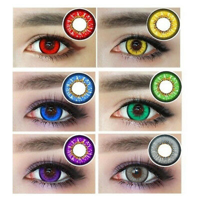 1 Pair Colored Big Eyes Circle Contact Lenses Halloween Decoration Con Lindo